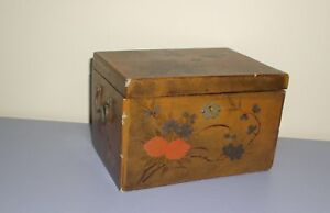 Antique Chinese Export Keemun Tea Hand Painted Lacquer Box Brass Handles Lock