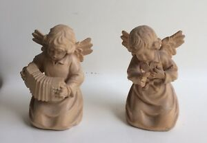 Wood Sculpture Angel With Accordion Hand Carved And Another Angel Expressing