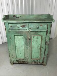 Primitive Pie Safe Cupboard Dry Sink Cabinet Old Green Paint 51 5h48h42w16d17 5d