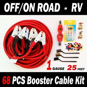 Off on Road Rv 68 Pcs Booster Cable Kit 25 Ft 1 Gauge Jumper Cables