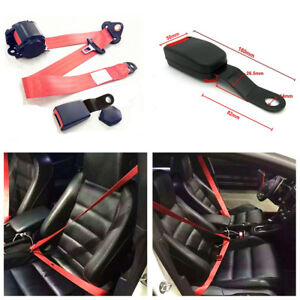 Red Iron Plate Style 3 Point Retractable Car Seat Safety Belts W release Camlock