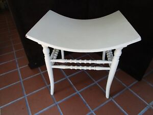 Antique Bent Curved Wood Vanity Bench Victorian Vanity Seat Shabby White 15 H