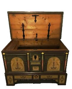 Antique Danish 1725 Dowry Wedding Coffer Chest Trunk W Painted Folk Art Huge