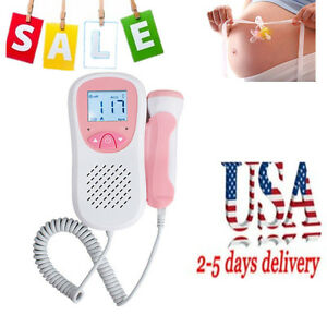 Safe Handheld Fetal Heart Doppler Lcd Baby Sound Beat Rate Monitor 3mhz Probe