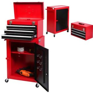 Brand New 2 Pcs Tool Chest With Roller Cabinet Storage Toolbox