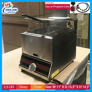 New Single Basket Commercial Deep Fryer Propane Gas Use Counter Top Countertop