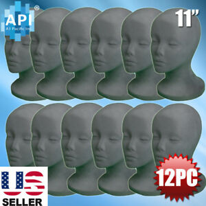 Gray Styrofoam Foam Mannequin Wig Head Display Hat Cap Wig Holder Grey 12pc