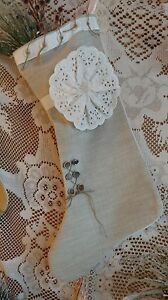 Scandinavian White Vintage Lace Stocking Fireplace Mantle Holiday Christmas