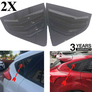 Fit For Ford Focus St Rs Mk3 Hatchback Shiny Black Window Side Louvers Vent 2pc