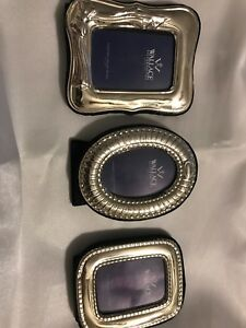 Three Wallace Sterling Silver Blue Velvet Picture Frames Italy