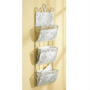Vintage look Metal Tile Letter Organizer Classic White Distressed Tiles Wall
