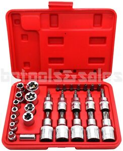 30pc Male Tamper Proof Star Bit Female E Socket Set Torx Driver Bits Tool Cr V