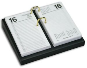Dacasso Black Leather Desktop Calendar Holder With Gold Bolts 4 5 inch By 8 inc
