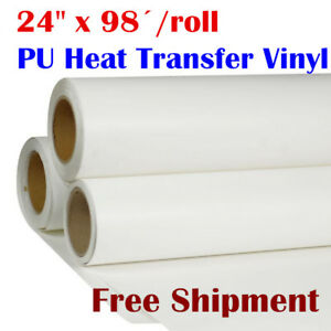 24 X 98 Roll White Color Printable Heat Transfer Vinyl For T shirt Fabric