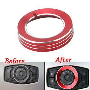 Aluminum Headlight Lamp Switch Knob Cover Ring Trim For Ford Explorer 11 2019