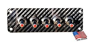 Carbon Fiber 5 Toggle Switch Panel Red Led Switches