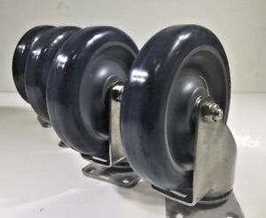 Swivel Casters Stainless Steel Grey 4 box 5 x1 1 4 Non Marking Urethane Wheel
