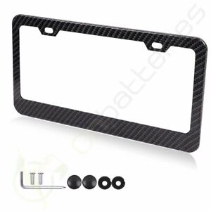1pcs Black 2 Hole Carbon Fiber Custom License Plate Tag Snap Fit Frame For Bmw