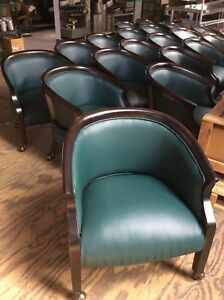 Table Logix Pa 24172 Dark Green Polyurethane Barrel Chairs