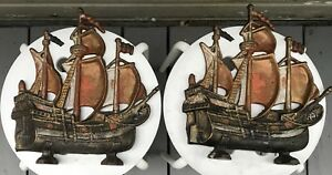 Two Vintage Clipper Ship Bookends Or Doorstops Cast Iron Copper Color Nice