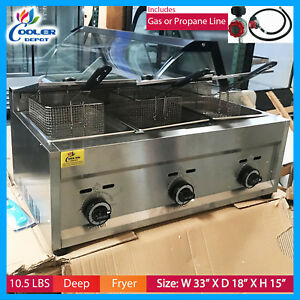 3 Burner Commercial Deep Fryer Fy5 propane And Gas Use Counter Top Fry Food New