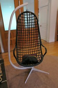 Read Vintage Rattan Wicker Mid Century Egg Swing Hanging Chair Stand
