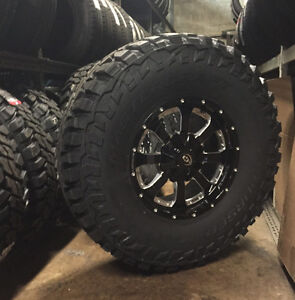 5 17 Vision Locker Black Wheels Rims 35 Mt Tires 5x5 Jeep Wrangler Jk Tj
