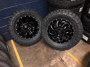 20 Fuel Cleaver Dually D574 Black Wheels 35 Tires 8x200 8 Lug Ford F350 2005