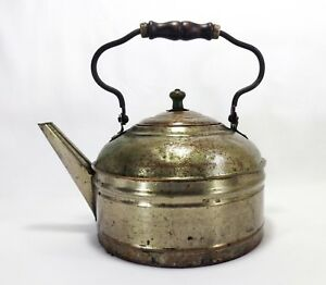 Rustic Early 20th C Antique Primitive Pressed Tin Lg Kettle W Wood