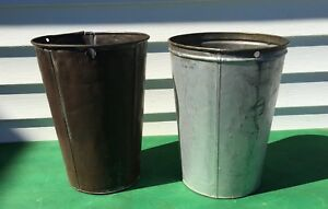2 Large Old Tin Sap Buckets Tall Great Decor Planters
