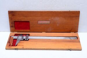 Vintage Starrett No 122 12 Vernier Caliper Micrometer In Original Wooden Case