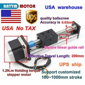 us Cnc Ball Screw Linear Slide Stroke 1605 L 200mm Z Axis nema23 Stepper Motor