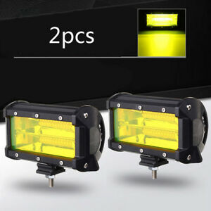 2x 5inch 96w Yellow Led Work Light Bar Flood Driving Fog Lamps Offroad Truck Suv