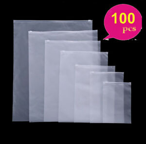 100 frosted Plastic Bag Poly Self Seal Zip Lock Bag Phone Clothing Jewelry Pouch
