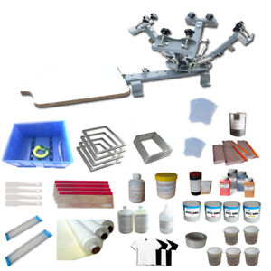 Economy 4 Color 1 Station Silk Screen Printing Kit With All Print Ink