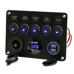5 Gang On Off Blue Led Toggle Switch Panel Voltmeter Dual Usb Car Boat Marine