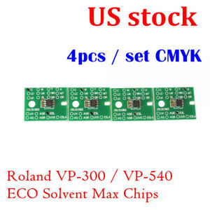 Us Stock permanent Roland Vp 300 Vp 540 Eco Solvent Max Chips 4pcs Set Cmyk