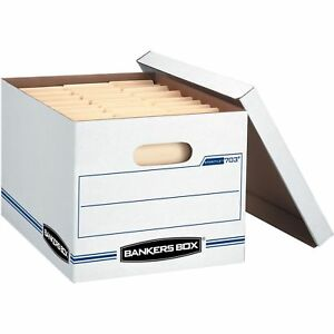 Bankers Box 703 Stor file Letter legal Lift off Lid White Blue 12 carton