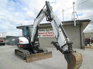 2016 Bobcat E55 Mini Excavator 173 Hours Cab Ac heat X change Coupler 49 Hp