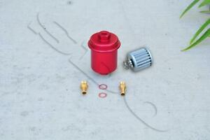 Red Cnc Aluminum Washable High Flow Volume Fuel Filter For Honda Civic