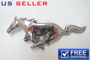 Chrome Big Running Horse Front Grill Emblem Badge Grille For Ford Mustang