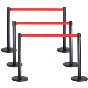6pcs Stanchion Belt 3 Sets Retractable Red Belt Crowd Control Barrier