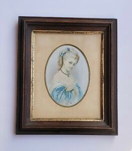 Vintage Wooden Oval Matted Portrait Picture Of A Victorian Lady