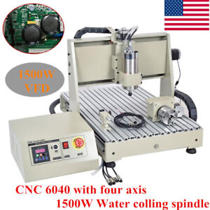 1500w Vfd 4 Axis 6040 Cnc Router Engraver Machine Engraving Carving 3d Cutter
