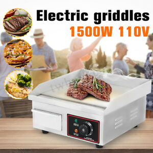 1500w Electric Countertop Griddle Commercial Restaurant Flat Top Grill Bbq 110v