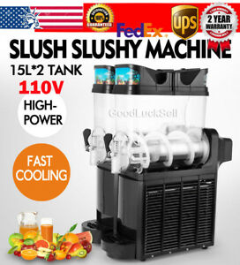 Commercial 15l 2 Tank Frozen Drink Slush Slushy Making Machine Smoothie Maker Us