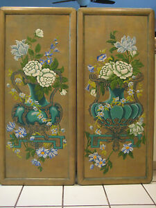 Antique Pair Of Large Art Deco Exceptional 1930 S Hand Painted Wood Panels