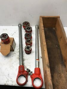 Ridgid 36375 00 r Manual Pipe Threader Set 6 Dies 1 4 3 8 1 2 3 4 Ratchet Used