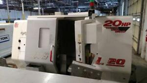 Haas Sl 20t Cnc Lathe Bar Feed Tailstock 10 X 20 20 Hp Spindle Bore 3 4000 Rpm