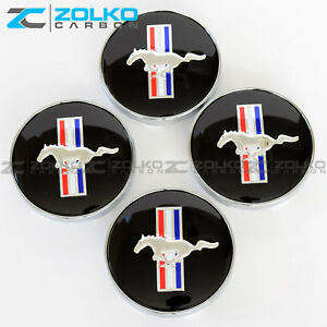 Black Horse Hub Wheel Center Caps For Ford Mustang Cobra Gt 60mm Ee07 4pc Set